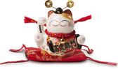 【金石工坊】富貴臨門財神貓(高11CM)陶瓷開運風水桌上擺飾 招財貓 財神爺 撲滿存錢筒