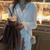 秋季新款韓版V領氣質裙子收腰顯瘦長袖連身裙長裙女
