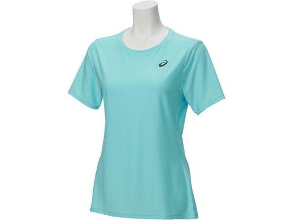 【ASICS 亞瑟士】 女 短袖T恤 LITE-SHOW 反光 運動短T -142607-8121 水藍 [陽光樂活]