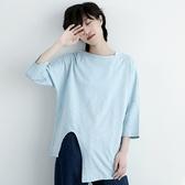 五分袖T恤-純棉圓領不規則下擺純色寬鬆女上衣73nl9【巴黎精品】