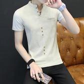 polo衫 青年韓版短袖T恤男士夏季立領polo衫潮流衣服個性半袖體恤打底衫 米蘭街頭