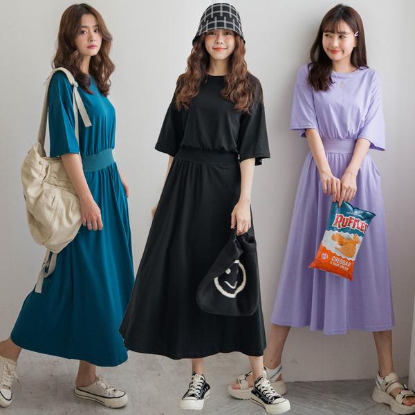 MIUSTAR 素面圓領鬆緊腰側口袋棉質洋裝(共5色)【NH1655】預購