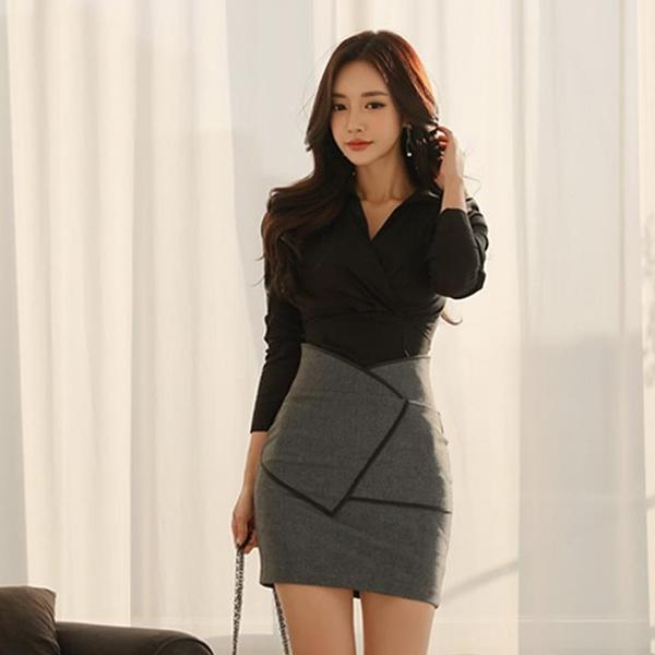 歐媛韓版 職業套裝女 春季新款韓版OL御姐V領襯衫 高腰半身裙時尚兩件套洋裝