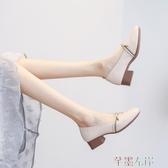新品中跟鞋中跟粗跟女鞋單鞋秋款秋鞋百搭皮鞋春款軟皮瑪麗珍奶奶鞋 芊墨左岸