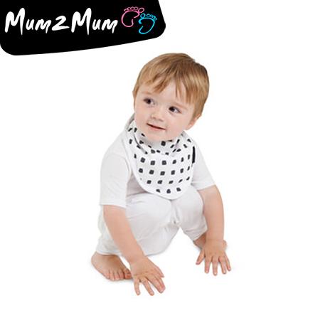 Mum 2 Mum 雙面竹纖維棉機能口水巾圍兜-水彩方塊/星星【佳兒園婦幼館】