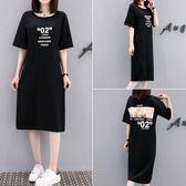 促銷價不退換長版上衣日常穿搭M-4XL/31877/夏季大碼女裝法國小眾印花連身裙寬松中長款短袖T恤裙