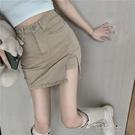 短裙開叉牛仔半身裙女裝高腰顯瘦包臀a字短裙一步裙子