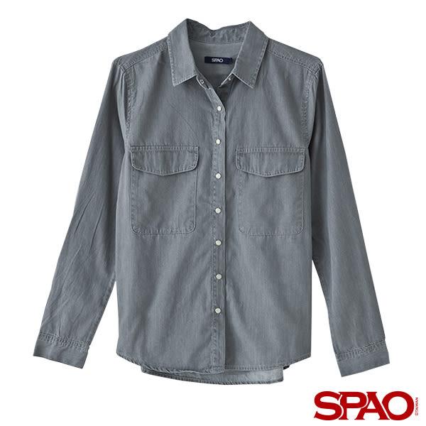 SPAO女款經典百搭口袋牛仔襯衫-共2色