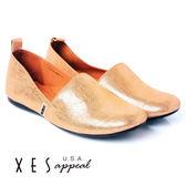 XES 女鞋 減壓時尚 MIT EASYQ 條紋金屬風 輕簡便鞋 玫瑰金