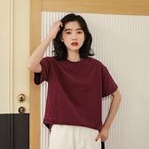 短袖T恤-磨毛寬鬆純色簡約女上衣3色73xn1[巴黎精品]