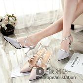 涼鞋/女夏季綁帶銀色尖頭中高跟細跟單鞋「歐洲站」