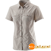 Wildland荒野 W1203-83白卡其 女排汗抗UV短袖襯衫