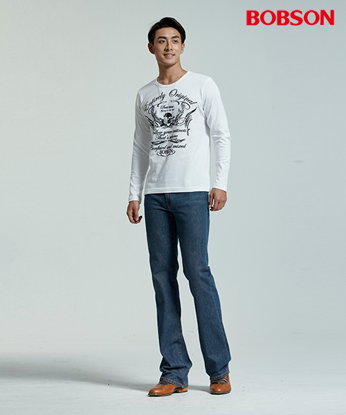BOBSON 男款圓領骷髏圖騰白色上衣(35043-80)