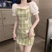 包臀洋裝 夏季氣質方領泡泡短袖裙子包臀短裙蝴蝶格子連 芊墨左岸