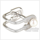 apm MONACO XL系列晶鑽鑲飾別針設計純銀珍珠戒指(銀)