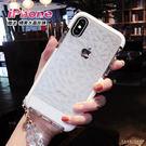 Free Shop 蘋果 IPHONE X/8/7/6 s Plus 系列 小香風透明水感輕奢菱格紋理全包防摔手機殼【QABM30013】