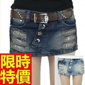 牛仔短褲-高腰焦點單寧女休閒褲2色57d24【巴黎精品】