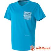 Wildland 荒野 0A51616-77中藍 男 V領抗菌抗UV上衣 抗紫外線/咖啡紗/吸濕快乾/登山旅遊