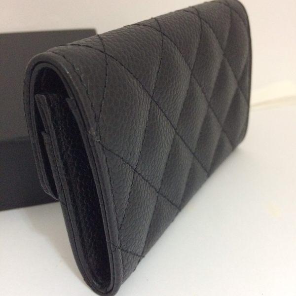 CHANEL 菱格紋 荔枝皮 銀釦 零錢包/卡名片夾 (黑色) 現貨特價