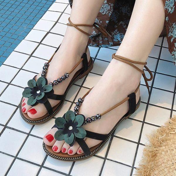 沙灘涼鞋新款鞋子韓版百搭休閒度假平底鞋學生民族風女鞋 卡布奇諾