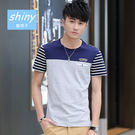 【Y089】shiny藍格子-休閒好物.夏季撞色拼接條紋修身圓領短袖上衣