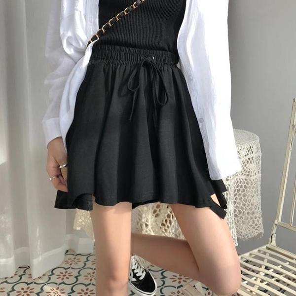 夏季韓版新款百搭個性撕邊闊腿褲女褲裙寬鬆系帶高腰休閑短褲