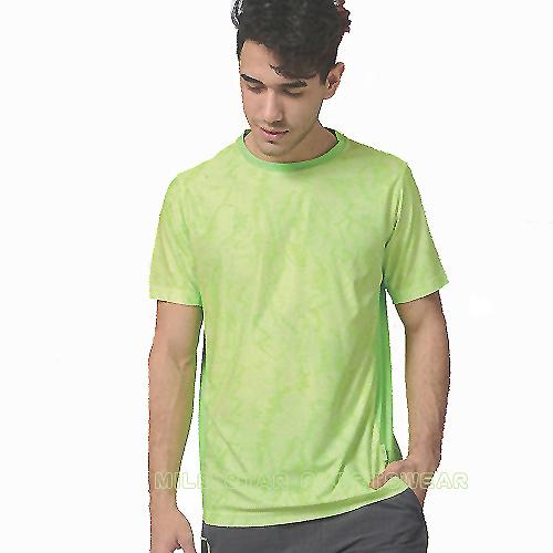 MILD STAR 男女吸濕排汗印花圖騰短T恤-螢綠#AS900945