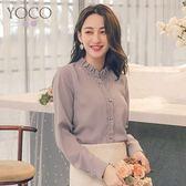 東京著衣【YOCO】法國好女孩蕾絲花邊荷葉領長袖襯衫-S.M.L(181735)
