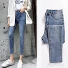 chic復古高腰牛仔褲女九分褲彈力緊身顯瘦2021春夏八分小腳打底褲 夏季新品