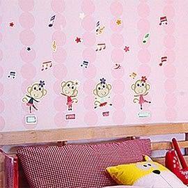 半島良品★新款夜光造型壁貼-音樂小猴 Y0021(20X40)