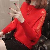 針織衫-一字領時尚鏤空蕾絲蝙蝠袖女毛衣6色73tp11[巴黎精品]
