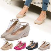 現貨【MIT全真皮】氣質百搭繫帶兩穿式楔形中跟鞋【SAMANSA】--#14304  優雅米