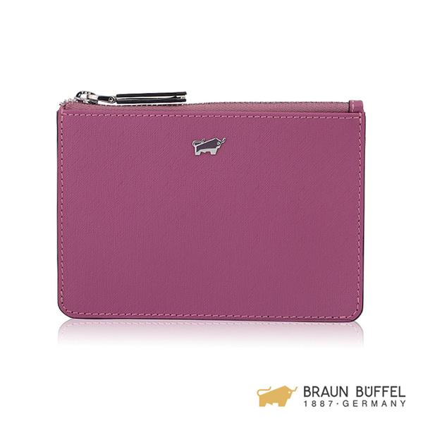 【BRAUN BUFFEL】美莉莎-III系列拉鍊零錢包 -粉紫 BF651-723-BO