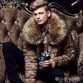 新款秋冬男士皮草外套男青年修身仿皮草大衣短款休閒男裝潮流    韓小姐