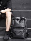 皮質簡約後背包男士時尚潮流休閒旅行電腦背包初中大學生書包男包