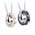 【5折超值價】 【316L西德鈦鋼】最新款經典時尚日韓風格雙環鑲鑽造型情侶款鈦鋼項鍊