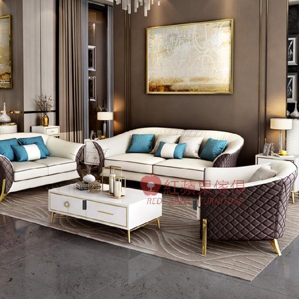 [紅蘋果傢俱] 輕奢風W-QQ-222沙發W-QQ-223沙發 皮沙發 仿皮沙發 簡約 沙發 客廳 L型沙發
