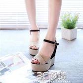 涼鞋 坡跟涼鞋女夏新款羅馬風簡約高跟防滑百搭平底魚嘴防水臺女鞋 3C優購