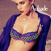 Aubade-綻放印花B-C蕾絲薄襯內衣(紫)Y1