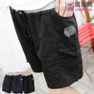 短褲--休閒可愛貼布米奇點點口袋配色抽繩短褲(黑.藍M-XL)-R93眼圈熊中大尺碼◎