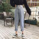 秋季新款韓版鬆緊高腰直筒褲寬鬆chic淺色褲子牛仔長褲女學生