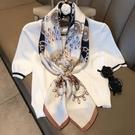 洋氣超大方巾女百搭小絲巾春秋季薄圍巾新款紗巾裝飾領巾空姐披肩一米
