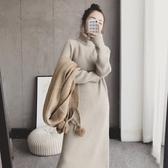 秋冬套頭外穿毛衣裙 連體毛衣 中長款過膝古著內搭打底針織連身裙
