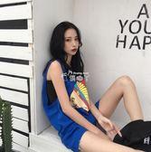 韓版無袖T恤背心女原宿風中長款背後1號字母印花籃球衣服潮 俏腳丫