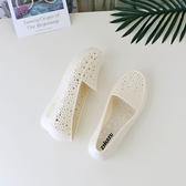 楔型鞋坡跟涼鞋女夏季塑膠媽媽孕婦鏤空護士鞋白色洞洞工作鞋 韓國時尚週