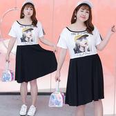 中大尺碼~假兩件胸前個性圖案式短袖連衣裙(XL~4XL)