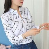 襯衫 上衣白色長袖條紋襯衫韓范雪紡襯衣打底衫v領