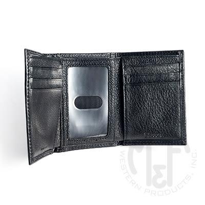 ★M&F★西部個性皮雕黑色真皮三折短夾(MFWALN5422601)