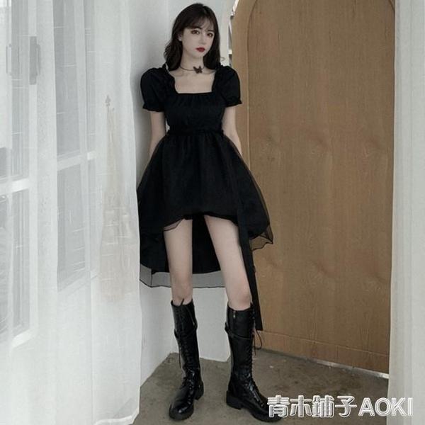 夏季新款法式小眾方領燕尾禮服裙子氣質黑色不規則洋裝女裝 青木鋪子