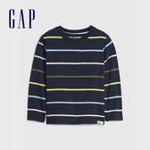 Gap男幼童 清爽風格條紋圓領長袖T恤 617863-藏青色
